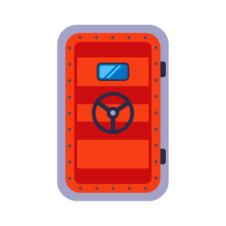 heavy red bunker door. hide in a bomb shelter. flat vector illustration.