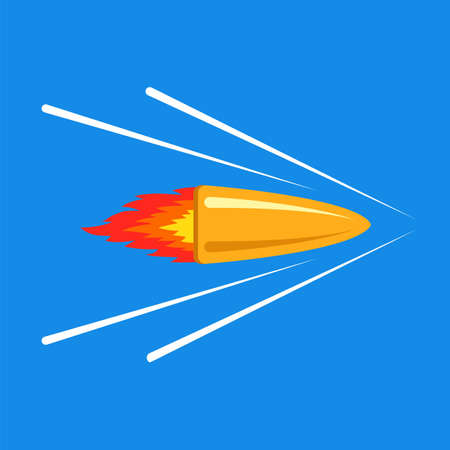 shot from a rifle. a bullet flies and cuts through the air. flat vector illustration.