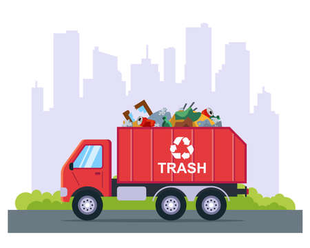 garbage removal by truck from the city. flat vector illustration. Vetores
