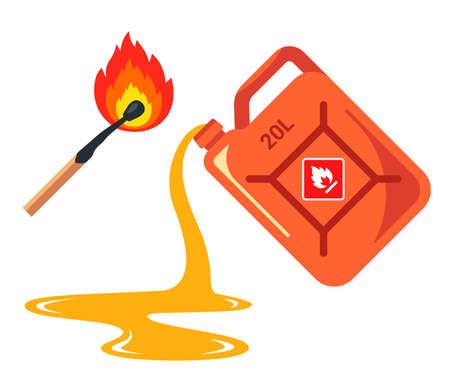spilled gas from a canister. banner caution flammable. Flat vector illustration isolated on white background.