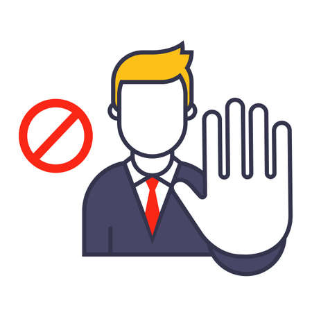 man shows a stop sign. gesture stop on a white background. flat vector illustration. Vettoriali
