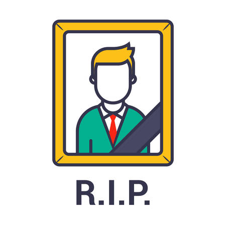 photo of a dead man with a black ribbon. Flat character vector illustration.