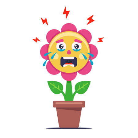 flower crying from bad ecology. the plant is sick and wilted. Flat character vector illustration.