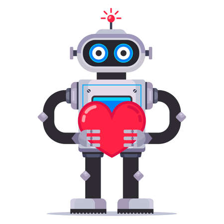 Cute robot holds a heart. mechanism in love. Flat character vector illustration. Illustration