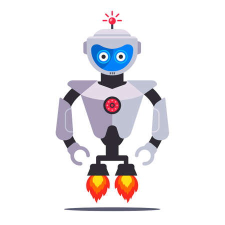 flying modern robot with turbines on a white background. Flat character vector illustration.