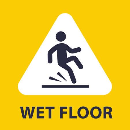 plaque slip on wet floor. the fall of man. flat vector illustration. Illusztráció