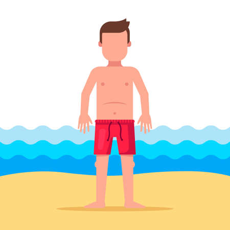 a man in shorts is standing on the background of the sea. Flat character vector illustration. Illustration