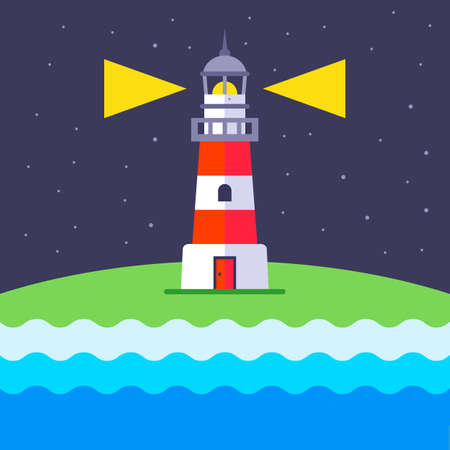 a lighthouse shines at night to guide ships. flat vector illustration.