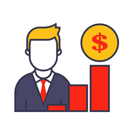 sales growth icon. A marketer shows a company development chart. Flat character vector illustration.