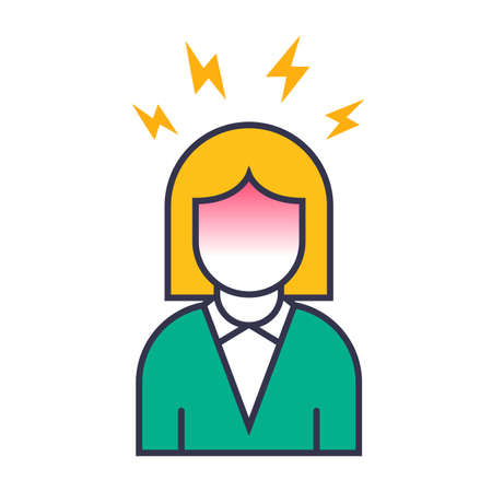 icon girl is having a headache. Flat vector illustration isolated on white background.