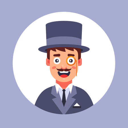 bubble man in the 19th century wearing a hat. flat vector illustration.