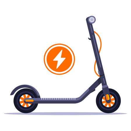 electric scooter rental in the city. Connect the charger to an environmentally friendly vehicle. Flat vector illustrations.