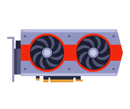 computer graphics card for good games. Flat vector illustration isolated on white background. 向量圖像