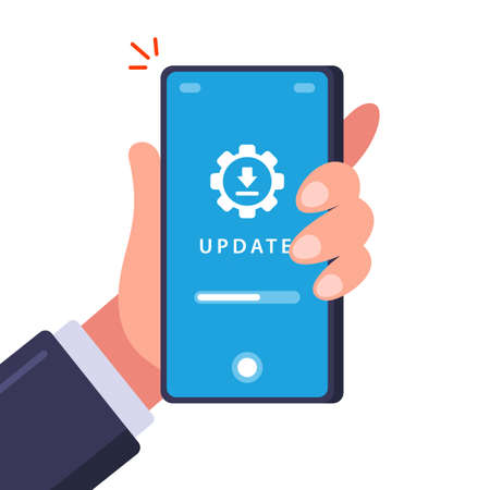 Updating an old phone. Download data for installation. flat vector illustration. Vettoriali