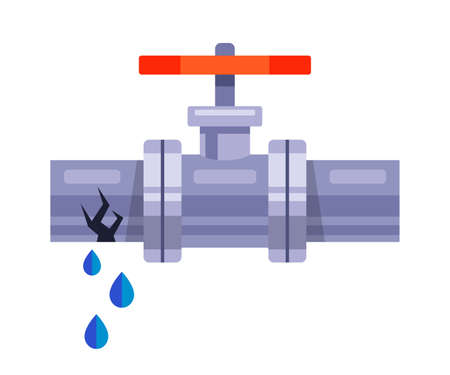 water leakage from an iron pipe on a white background. flat vector illustration