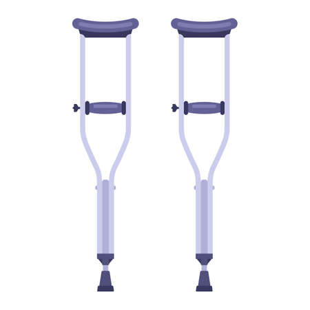 a pair of iron crutches to move a person. Flat vector illustration isolated on white background. 向量圖像
