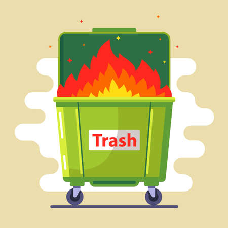 the trash can is burning. violation of the rules. harm to nature and people. bad ecology. flat vector illustration Vector Illustratie