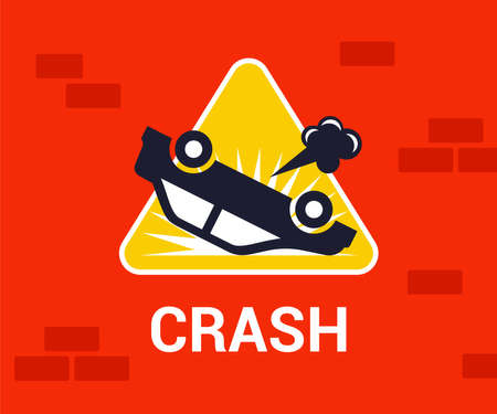 road sign of an inverted car. traffic accident on the road. flat vector illustration.