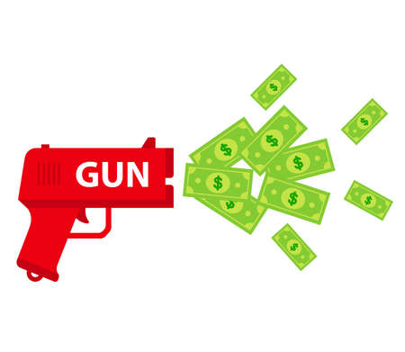 shoot the toy gun with bills. waste of money. flat vector illustration isolated on white background. Vettoriali