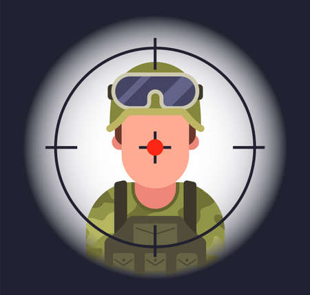 soldier in the sight of a sniper. kill in war. flat vector illustration.