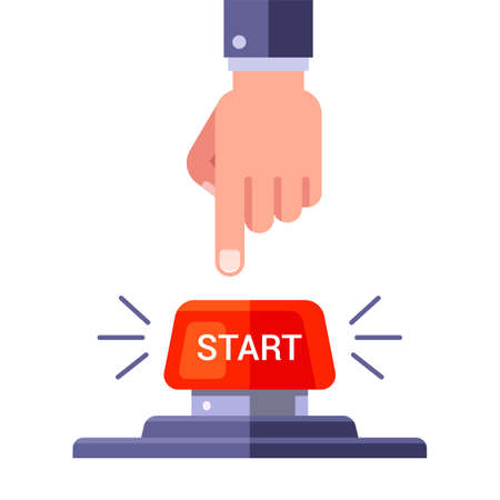 man presses the red start button. flat vector illustration isolated on white background.