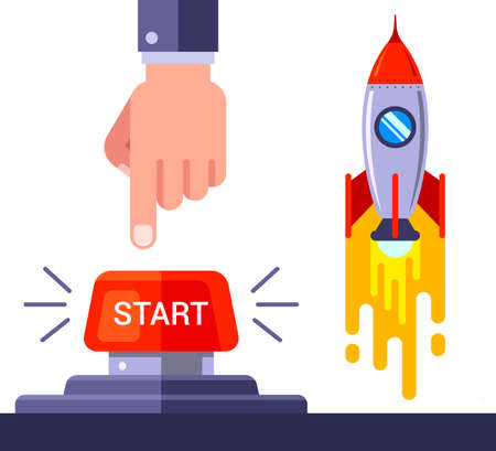 press the red button and launch the space rocket. flat vector lustration.