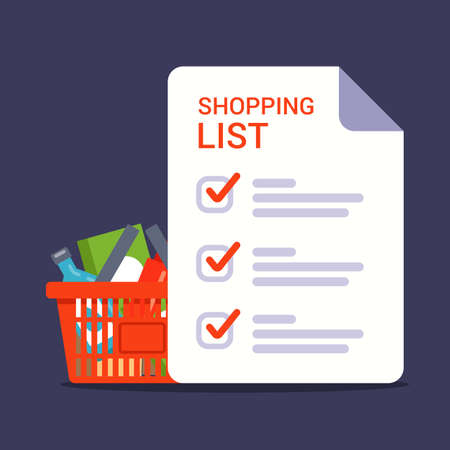 grocery list for shopping in the store. shopping list with marks. flat vector illustration