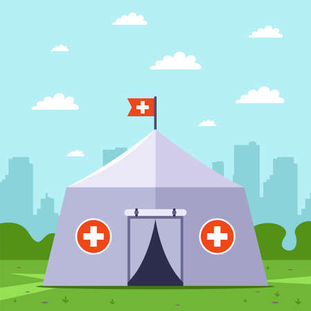 emergency medical tent. provide disaster relief. flat vector illustration.