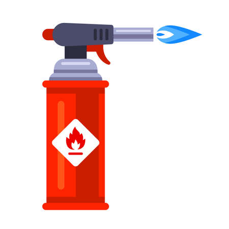 blowtorch with blue flame for construction. flat vector illustration isolated on white background. Vektorové ilustrace