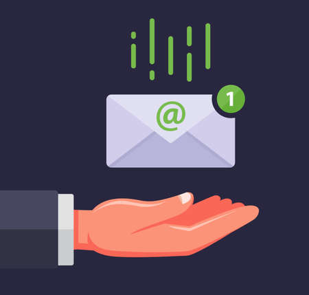 receive an email. the envelope falls into the palm of the person. important message. flat vector illustration.