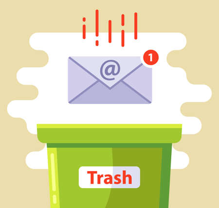 delete the email in the spam trash can. flat vector illustration. Ilustrace