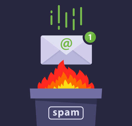 deleting spam messages from e-mail. protection against a computer virus. flat vector illustration