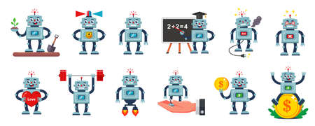 collection of illustrations of a character of a robot of different profession and situation.