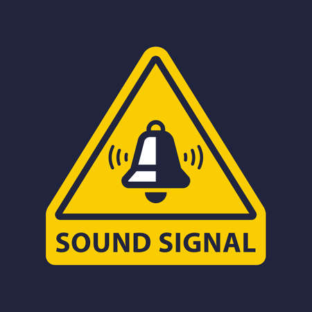 beep sign. bell is ringing on a yellow background. flat vector illustration  イラスト・ベクター素材