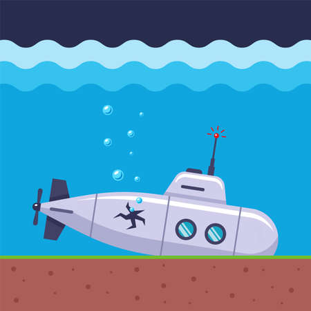 the submarine has crashed and is losing air through a hole in the ships firmware. flat vector marine illustration.