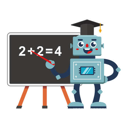robot teacher at school. future education automation in retro style. flat character vector illustration isolated on white background.