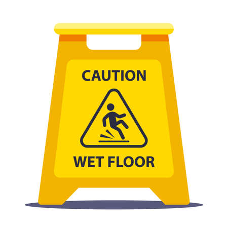 yellow information plate caution slippery floor. wash the floors at school. flat vector illustration isolated on white background.