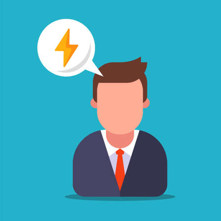 headache in a man in a suit. a cheerful man full of energy. flat vector illustration.