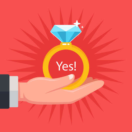 make a wedding proposal to your future wife. give a diamond ring. flat vector illustration. Ilustración de vector