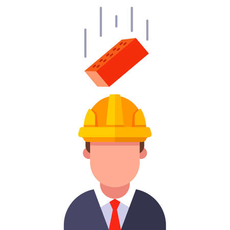 a brick falls on the head of a man in a helmet. flat vector character illustration.