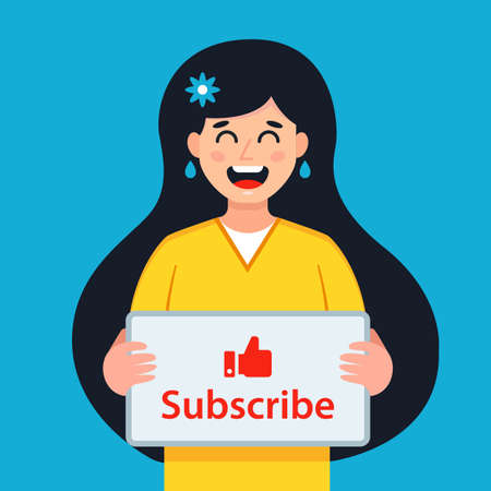 girl holding a sign to subscribe to the channel. flat vector character illustration.