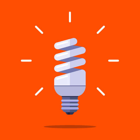 energy saving lamp in the form of a spiral on an orange background. flat vector illustration.