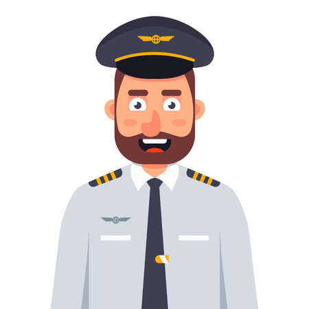 smiling airplane pilot in uniform and tie on a white background. flat vector character illustration.
