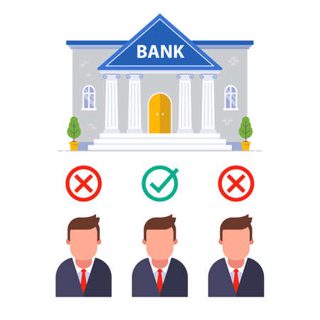 to approve a loan from candidates in the bank. to select the necessary personnel in financial institution. flat vector illustration.