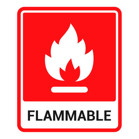 red sticker flammable. fire symbol. flat vector illustration. Ilustrace