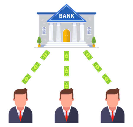 the bank pays money to its customers. flat vector illustration.