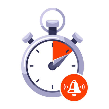 use up the time limit on the stopwatch. stop signal on the clock. flat vector illustration isolated on white background. Ilustrace
