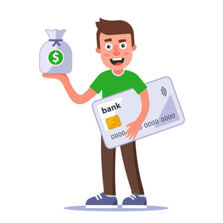 happy man holding a bag of money and a plastic bank card in his hands. flat character vector illustration isolated on white background.