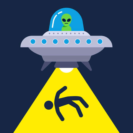 illustration of human abduction by aliens. flat vector image