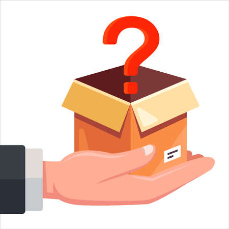 a box with a question mark lies in a person hand. flat vector illustration.